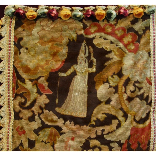 Custom Antique French Needlepoint & Velvet Pillow - Image 4 of 11