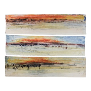Abstract Firestorm Triptych by George Turner