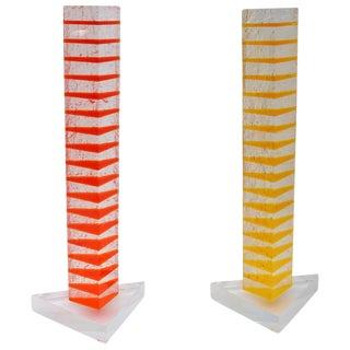 Orange & Yellow Lucite Sculptures - A Pair