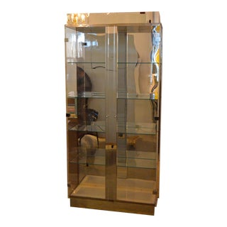 Tall Lucite Glass, Mirror and Chrome Cabinet with Upper and Lower Lighting