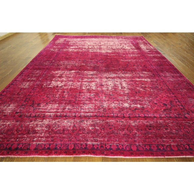 """Pink Overdyed Floral Area Rug - 9'7"""" x 12'2"""" - Image 3 of 10"""