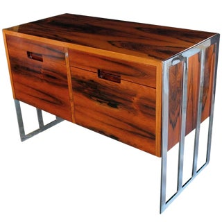 Chic Danish, 1970s, Jacaranda Wood Two-Drawer Cabinet with Chrome Supports