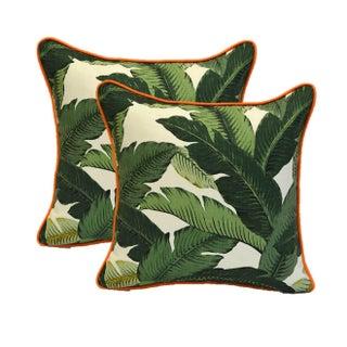 Green Swaying Palms Orange Cording Pillows - Pair