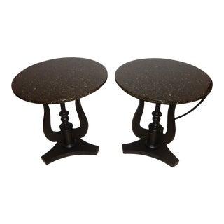 Art Deco Ebony Based End Tables - A Pair