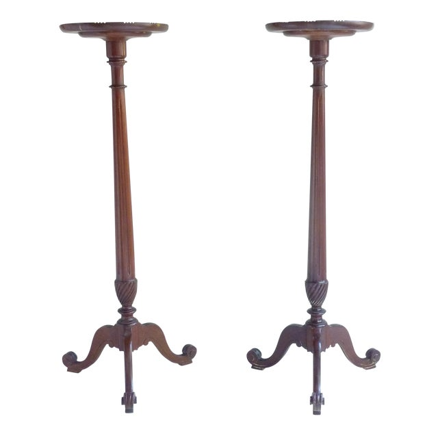 Image of Mahogany Plant Stands - Pair