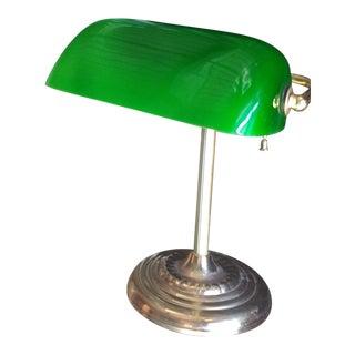 Green Glass Banker's Desk Lamp