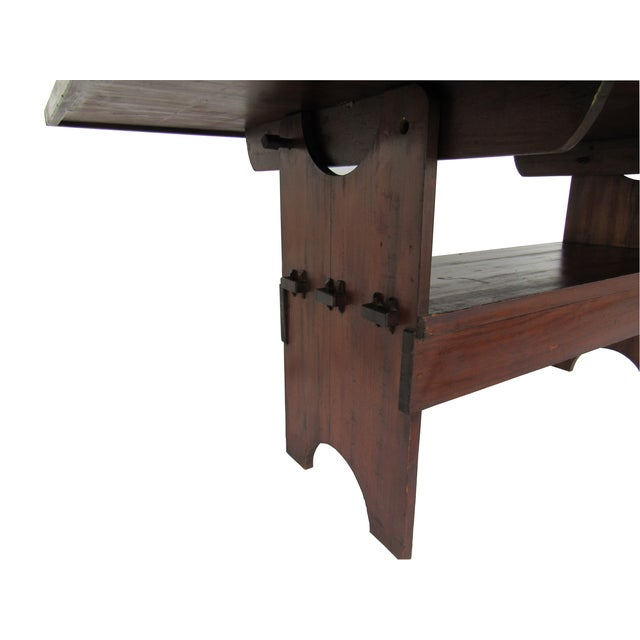 Antique Farmhouse Trestle Table/Bench - Image 9 of 9
