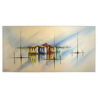 Castro Oil On Canvas Fishing Village