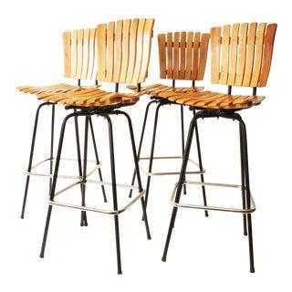 Mid Century Modern Arthur Umanoff Style Swivel Bar Stools - Set of 4