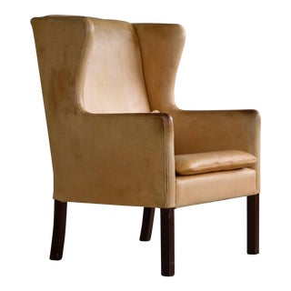 Frits Henningsen Style Wingback Chair in Patinated Pale Butterscotch Leather