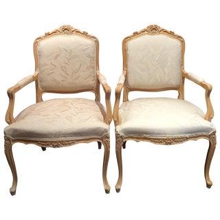 Louis XV Style Oak Wood Chairs - A Pair