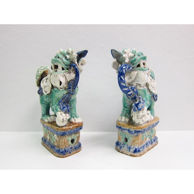 Image of Vintage Turquoise Foo Dogs - A Pair