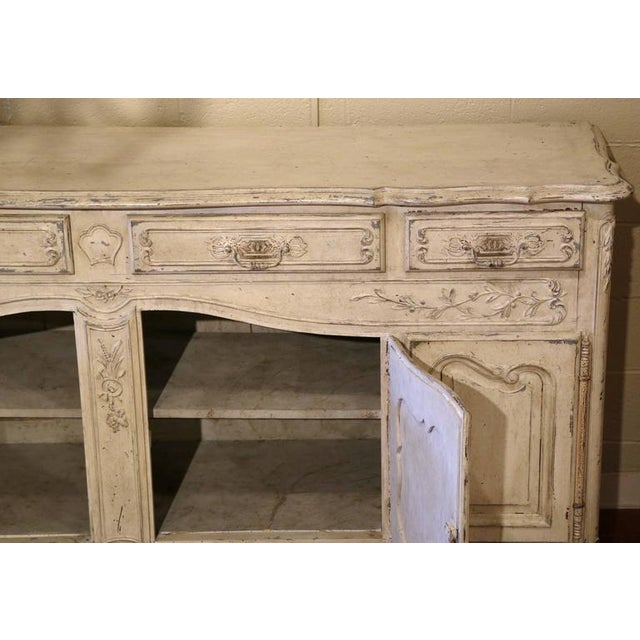 Early 20th Century French Louis XV Carved Painted Buffet - Image 8 of 9