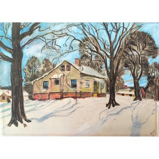 Vintage Colored Pencil Winter Cabin Drawing