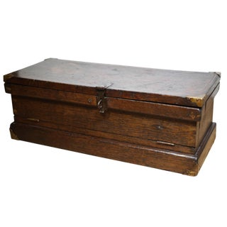 19th c. Elmwood Tool Chest with Drop Front c. 1800s.