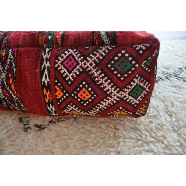 Image of Vintage Lazar Moroccan Kilim Red Pouf Cover