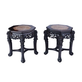 Oriental Inset Marble Lamp Tables or Stools - A Pair