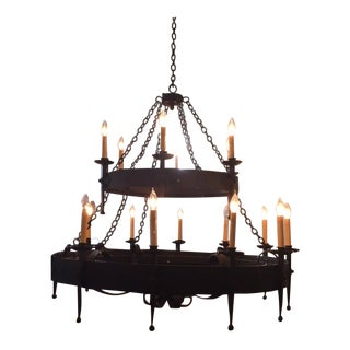 Double-Tiered Wrought Iron Chandelier