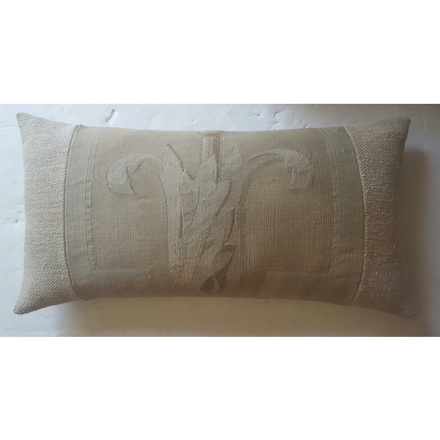 Vintage French Aubusson & Hemp Pillow - Image 2 of 3