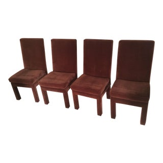 Thayer Coggin Milo Baughman 1970s Parsons Style Velvet Dining Chairs - Set of 4