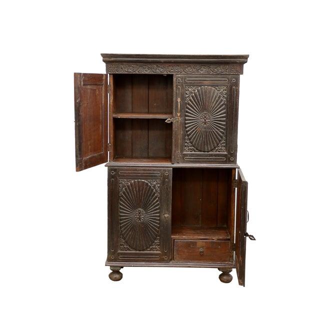 Antique Indo Portuguese Sunburst Armoire Cabinet - Image 4 of 7