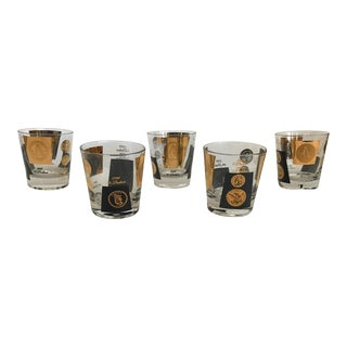Mid-Century Black & Gold Coin Glasses - Set of 5