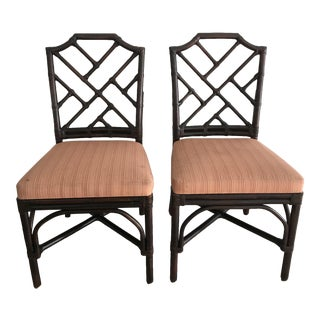 Palecek Pavilion Chippendale Upholstered Side Chairs - A Pair