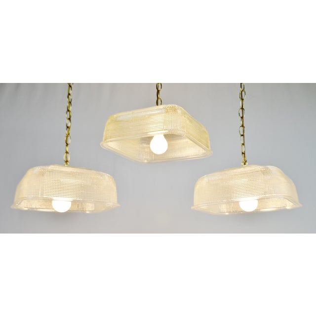 Vintage Hanging Glass Pendant Light Fixtures Set Of 3