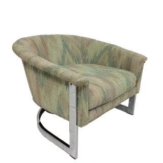 Milo Baughman Style Chrome Flatbar Lounge Chair