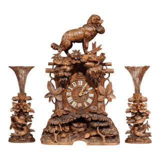 19th Century Black Forest Carved Walnut Cuckoo Clock - Set of 3