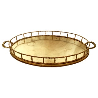 Large Oval Brass Faux Bamboo Trim Tray