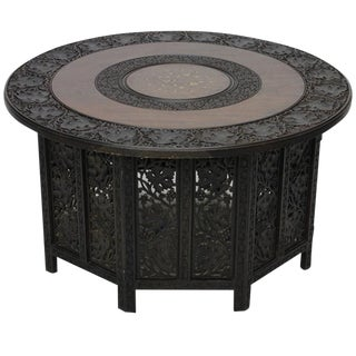 Carved Anglo-Indian Large Round Low Table