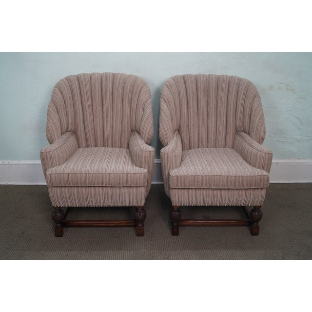 Feudal Oak Jamestown Wing Chairs - A Pair - Image 2 of 10