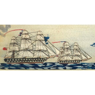 Sailor's Wool Work of Three Ships Including an American Ship