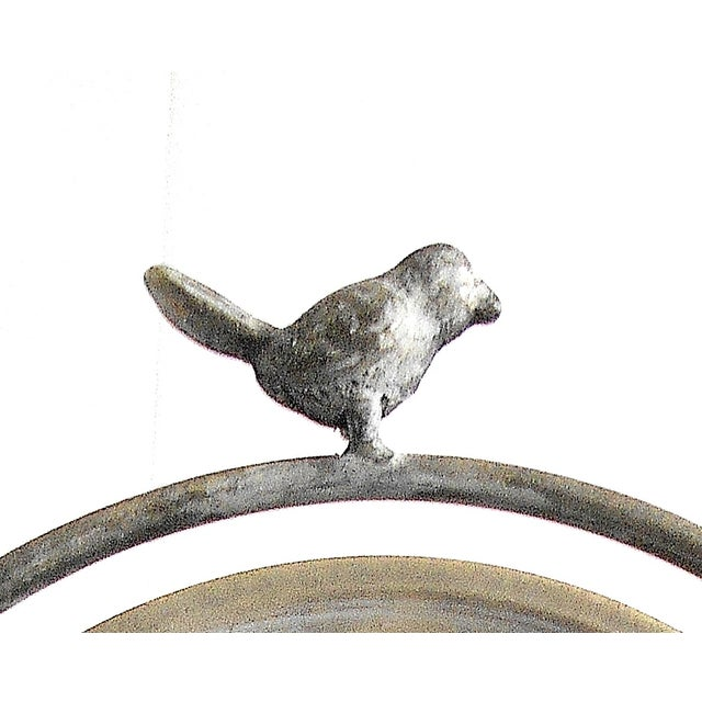 Tilting Metal Mirror on Stand With Bird Finial - Image 6 of 7