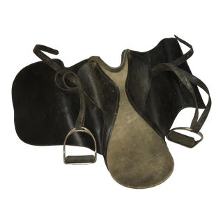 English Black Leather & Suede Saddle & Stirrups