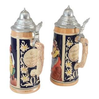 German Ceramic & Pewter Lidded Beer Steins - A Pair
