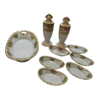 Hand Painted Nippon Porcelain Table Set - Set of 9