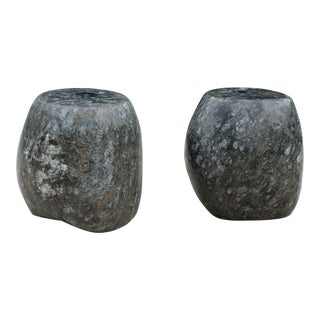 Organic Modern Black Marble Candle Holders - A Pair