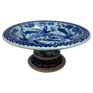 Blue & White Pedestal Bowl With Peacocks