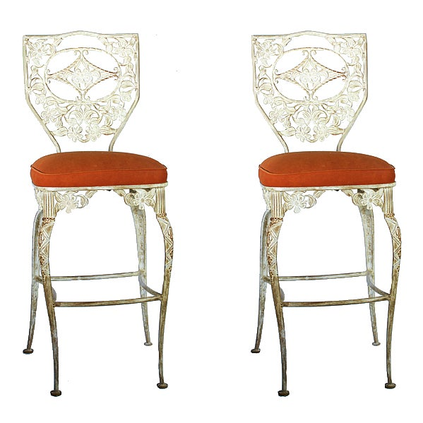 Image of Vintage Wrought Iron Bar Stools - A Pair