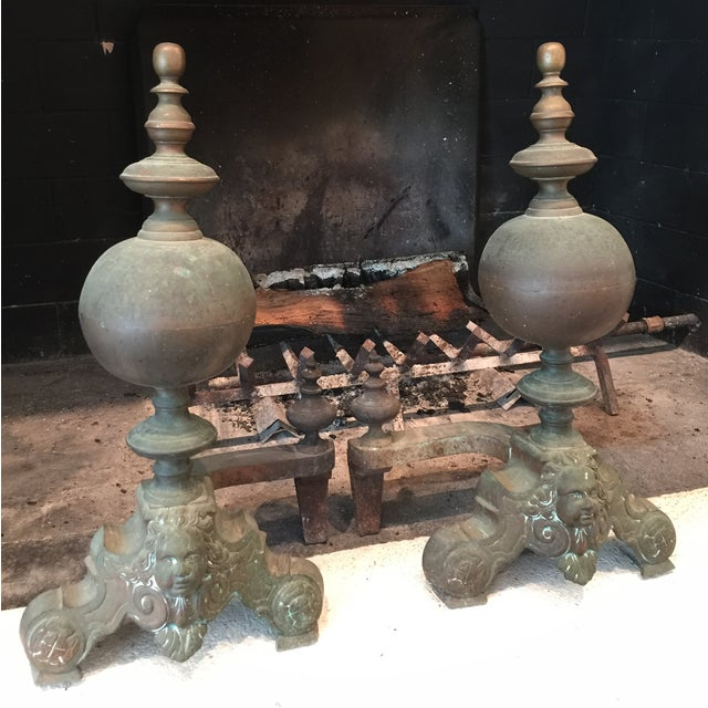 French Antique Brass Andirons - Image 4 of 6