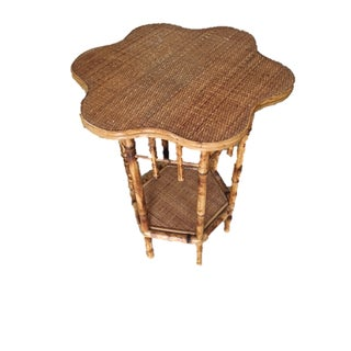 Scalloped Bamboo Side Table