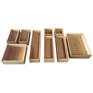 Wood Stackable Box Tray Organizers - Set of 9