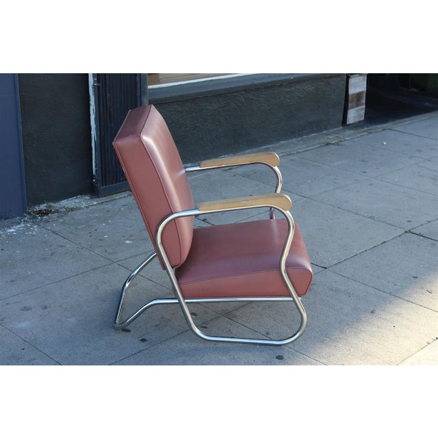 Postmodern Deco Style Chrome Lounge Chair in Mauve - Image 4 of 9