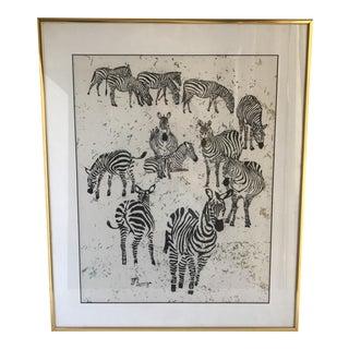 Zebra Raw Silk Lithograph In Gold Frame