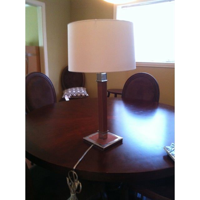 Ralph Lauren Saddle Leather and Chrome Table Lamp - Image 2 of 4