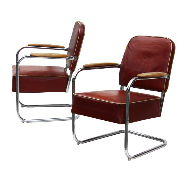 Image of Lloyd Mfg Machine Age Cantilevered Armchairs -a Pair