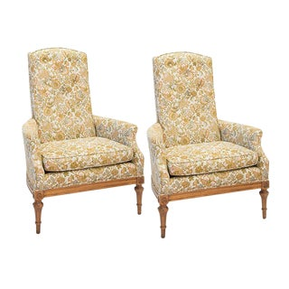 Mid-Century High Back Parlor Chairs - A Pair