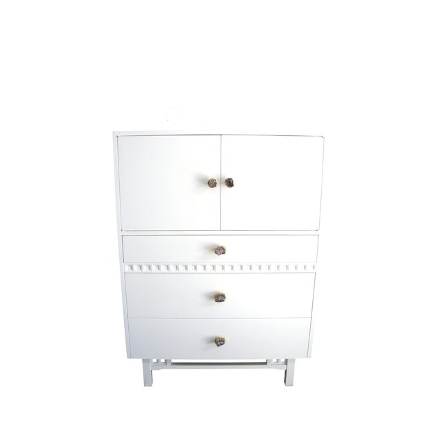 Mid-Century White Crystal Stone Pull Cabinet - Image 1 of 11